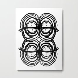 Abstract brushstrokes india ink free sprit boho painting swirl circle enso bullseye black and white Metal Print