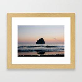Sunset Surfers - Oregon Coast Framed Art Print