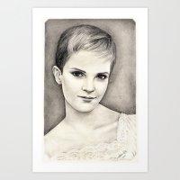 emma watson Art Prints featuring EMMA WATSON by Dianah B