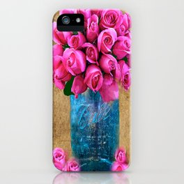 BALL MASON JAR AND ROSES iPhone Case