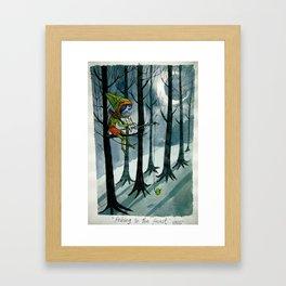 fishing in the forest Framed Art Print