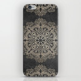 Mandala White Gold on Dark Gray iPhone Skin