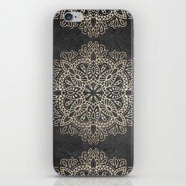 Mandala White Gold on Dark Gray iPhone Skin