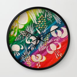 Leaves on the World Tree: Bosniak Pine and Golden Lily Wall Clock