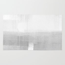 Grey and White Minimalist Geometric Abstract Landscape Rug