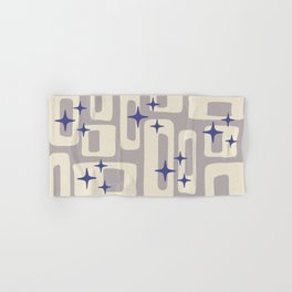 Retro Mid Century Modern Abstract Pattern 813 Gray and Blue Hand & Bath Towel