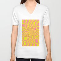 yellow pattern V-neck T-shirts featuring Pattern yellow wave by LoRo  Art & Pictures