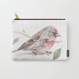 Bird - Male Common Redpoll Watercolour by Magda Opoka Carry-All Pouch