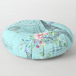 Paris - my blue love Floor Pillow