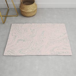 Blush pink elegant silver glitter abstract marble Rug