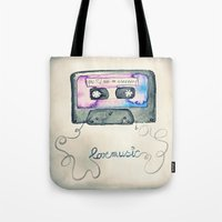 tape Tote Bags featuring Mix Tape by Monika Strigel