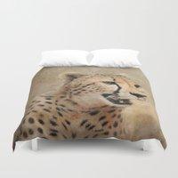 cheetah Duvet Covers featuring Cheetah by Jai Johnson