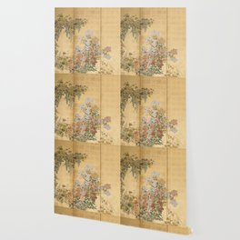 Japanese Edo Period Six-Panel Gold Leaf Screen - Spring and Autumn Flowers Wallpaper