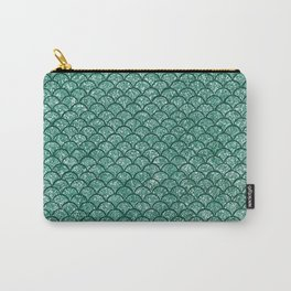 Aquamarine Sparkly Mermaid Scales Carry-All Pouch