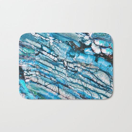 Blue Marble with Black Bath Mat