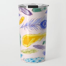Jewel Tone Feathers Travel Mug