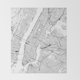New York City White Map Throw Blanket
