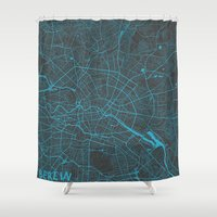 berlin Shower Curtains featuring Berlin by Map Map Maps