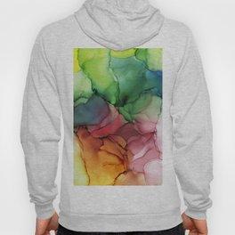 Rainbow Bloom Abstract ink Hoody
