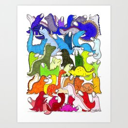 Rainbow Dinosaur Gradient Art Print