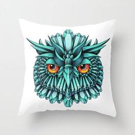 Crystal Owl Blue Throw Pillow