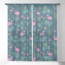 Bohemian nonchalance tropical flamingo pattern on dark background Sheer Curtain