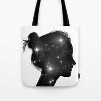 sister Tote Bags featuring Star Sister by Beyond Infinite