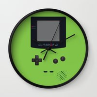 gameboy Wall Clocks featuring GAMEBOY Color - Green by Cedric S Touati