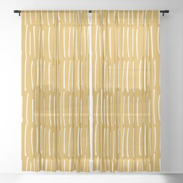 Yellow Abstract Line Art Sheer Curtain