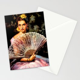 Jesus Helguera Painting of Spanish Beauty with Lacey Fan Stationery Cards