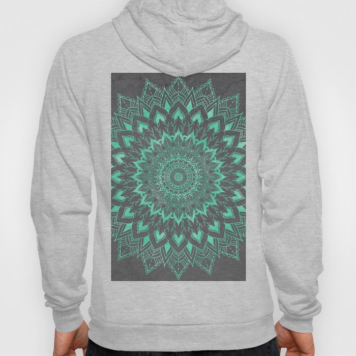Boho turquoise watercolor floral mandala on grey cement concrete Hoody