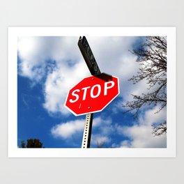 Blue skies and stop signs  Art Print