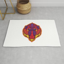 Mandrill Monkey Head Rug