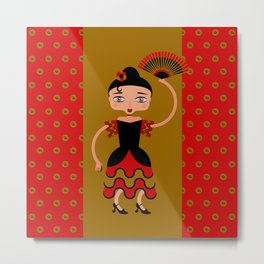 Spanish Flamengo Dancer Metal Print