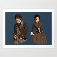 outlander Art Prints featuring Sing me a song by Theanimatedlife