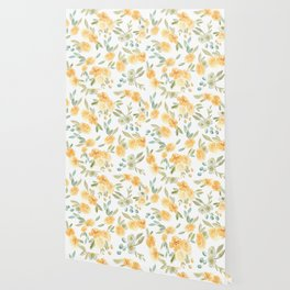 Yellow Autumnal Watercolor Florals Wallpaper