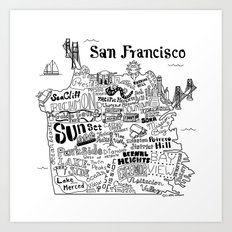 San Francisco Map Illustration Art Print