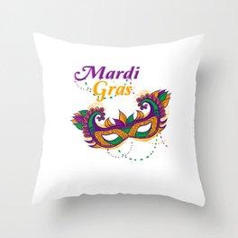 Mardi Gras Street Party Carnival Mask Gift Throw Pillow