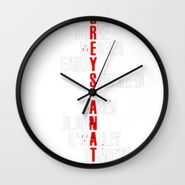 Grey's Anatomy Early Cast Names (white) Wall Clock