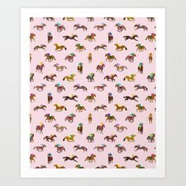 Off to the Horse Races (Pink) Art Print
