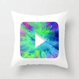Colorful YT Play Button Throw Pillow