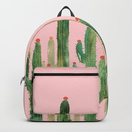 Cactus Four on Pink Backpack