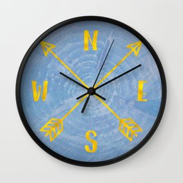 Compass Tree Gold on Blue Wall Clock