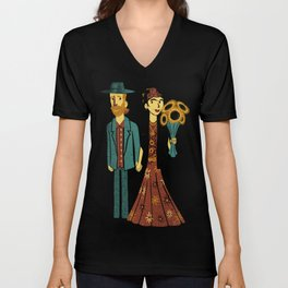 Love is Art Frida Kahlo and Van Gogh Unisex V-Neck