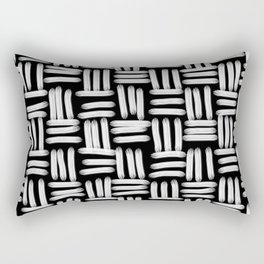 Black and White Basketweave Strokes Rectangular Pillow