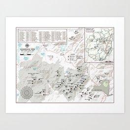 Adirondack 46 High Peaks Map [Black and White] Art Print