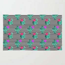 Cactus Stripes White Background Rug