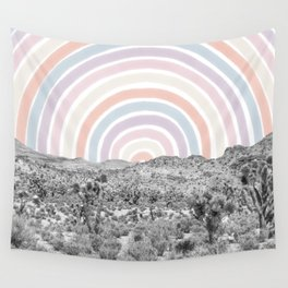Happy Rainbow Rays // Scenic Desert Cactus Hill Landscape Watercolor Collage Dorm Room Decor Wall Tapestry