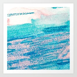 Abstract hand painted blue teal pink watercolor brushstrokes Art Print
