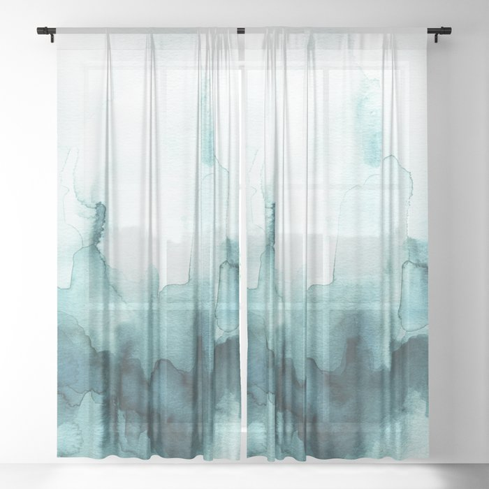 Soft teal abstract watercolor Sheer Curtain